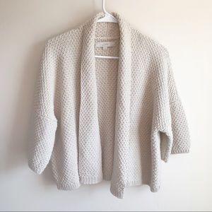 Loft Cream Silver Thread Heavy Knit Shrug Cardigan
